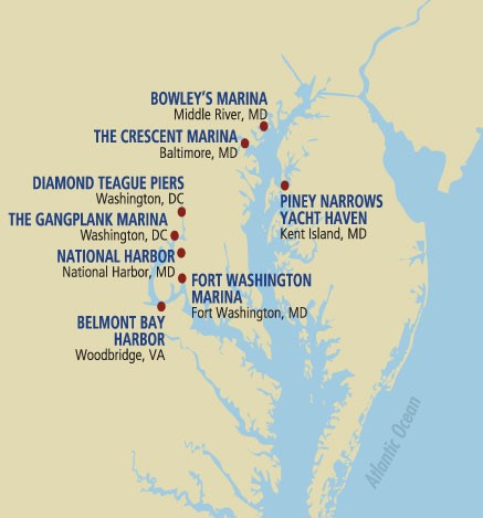 Map of Coastal Properties Marinas